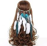 AWAYTR Stammes-Feder Boho Stirnband Perlen Niedlich maskerade Schick Kleid Kopfstücke Hippie Haar-Zusätze -