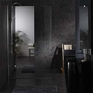 paroi de douche fixe avec bande effet miroir integre 120x195 cm cuisine maison. Black Bedroom Furniture Sets. Home Design Ideas