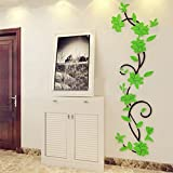 bismarckbeer 3D Romantic Rose Flower Removable PVC Wall Stickers Home Decal Living Room Decor (Light Green)