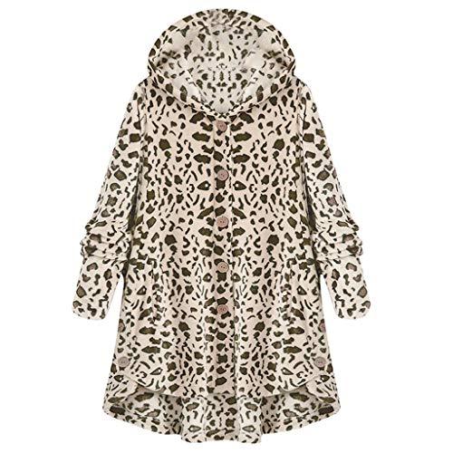 Abrigos de otoño Invierno, Dragon868 Abrigo de Leopardo de Lana para Mujer Abrigo de Invierno con Botones asimétricos con Dobladillo asimétrico (4XL, Blanco)