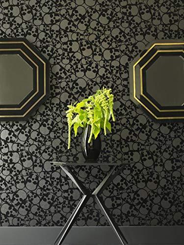 Black Skulls Print Flocked Luxury Wallpaper -