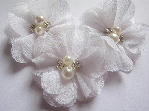 ie 5,1 cm groß sind, mit Strass und Perlen, für Bastelarbeiten von Yycraft, Chiffon, gebrochenes weiß, 2