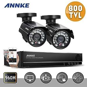 ANNKE® 4CH Kit de Vidéo Surveillance + 2 Caméra 800TVL Haute Résolution Jour/Nuit Vision Nocturne 110ft Intérieur/Extérieur Configuration à distance Facile QR Code Sans Disque Dur