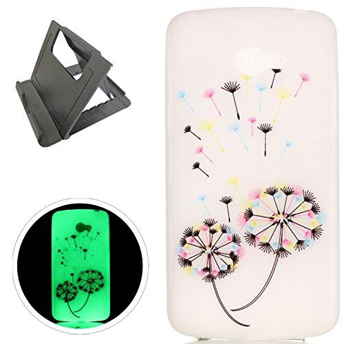 LG K5 hülle,[Mit freiem schwarzem Kickstand] Keyye [Kreative Luminous Durable] Silikon hülle,Aquarell Drucken Muster [Anti Staub]SchlankWeich gel TPU Schrubben Transparent Schutzhaut fluoreszierend Grüner Effekt Nacht Glühen in der Dunkel Portable Cover für LG K5-Bunter Löwenzahn (Kpop Sammlung)