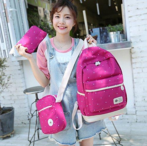 LQABW Dreiteiliger Segeltuch-Rucksack-Student Schultasche Travel Daypack Schultertasche,DarkBlue Pink