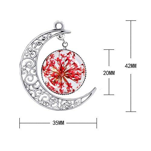 Bling Stars Collier avec pendentif croissant de lune et fleur séchée et pressée fuchsia