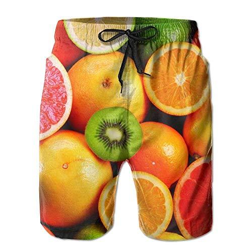 IconSymbol Lemon Orange Kiwi Fruit Männer/Jungen Casual Badehose Kurze Strandhose mit elastischer Taille und Taschen - Herren Carpenter Jeans Kurze