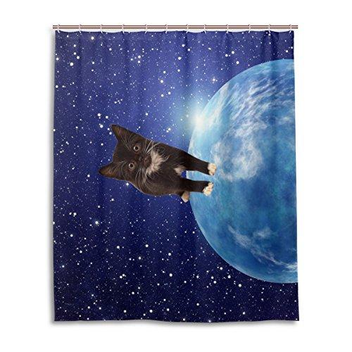 Dusche 152,4x 182,9cm, Galaxy Space Nebel Star Universe Meteor Katze Design 01, Polyester-Schimmelfest-Badezimmer Vorhang ()