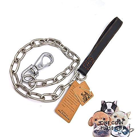 PetFun Cuir véritable avec la qualité de l'acier inoxydable à mâcher spécialement pour mener la lutte contre les chiens agressifs