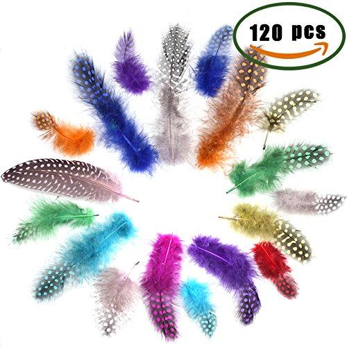 Bunte Federn zum Besteln, LULUNA 120 Pcs Federn mit Punkte Deko Natur für Party DIY Ostern Traumfänger Kleidung Malen Kleidung Hüte