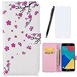 Lotuslnn Coque Samsung Galaxy A3 2016, Housse Samsung Galaxy A3 2016/SM-A310 Cuir Etui Flip Wallet Case-( Coque+ Stylus Stift+Screen Protector)-Fleurs de cerisier, rose