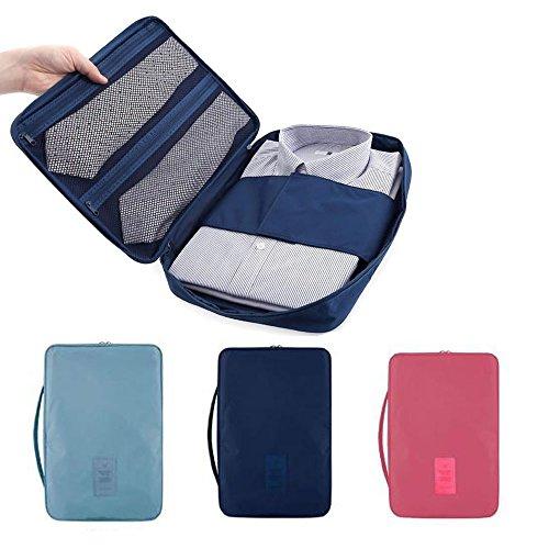 Giacca e cravatta imballaggio Bag organizzatore. rughe impermeabile libero di caso di immagazzinaggio di abbigliamento. (Rosa)