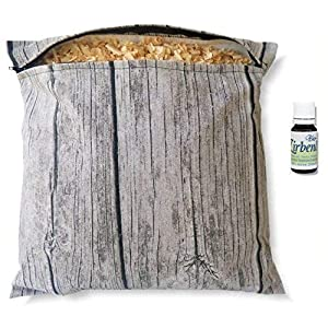 Geschenkset Zirbenkissen (30x30cm weiß oder wooddesign) mit Reißverschluss inkl. 10ml Bio-Zirbenöl