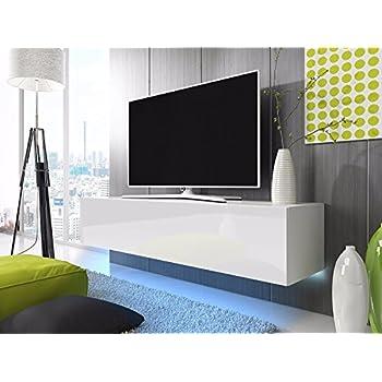 TV Schrank Lowboard Hängeboard SIMPLE mit LED Blau (Weiß