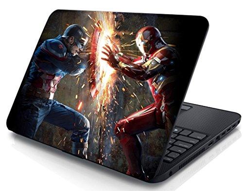 Creatick Studio Captain America Ironman Laptop Sticker(15X10.5-inch)