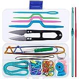 Anpro 63 PCS Tricot Kit à Tricot Outils Avec Boîte de Kit d'accessoire Outils et 2PCS Crochets de Tricot
