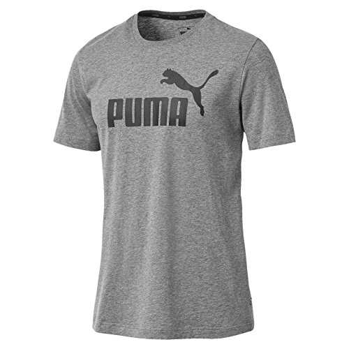 Puma Herren T-Shirt Essentials Tee - Casual Baumwoll-Shirt mit geripptem Rundhals-Kragen Logo Essentials Tee Medium Gray Heather XS -