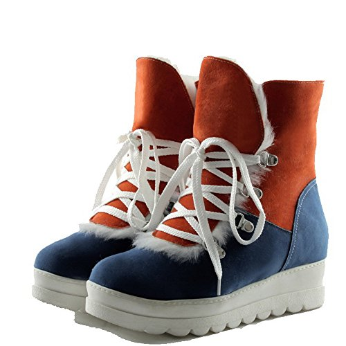 AgooLar Damen Niedriger Absatz Niedrig-Spitze Gemischte Farbe Schnüren Stiefel Blau