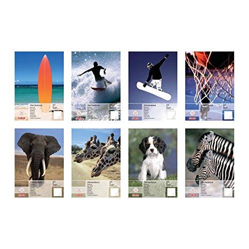 Herlitz 494310 Zeichenblock A3 mit 20 Blatt, 5er Packung mit 8 sortierten Motiven (Keine Motivauswahl möglich!)
