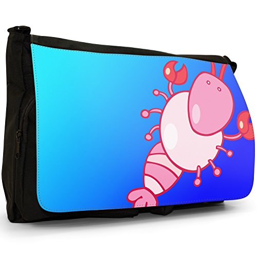 Fancy A Bag Borsa Messenger nero Huge Horn Big Eye Cartoon Bull Cartoon Pink Lobster With Claws