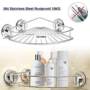GEMITTO Duschregal/Duschablage/Duschkorb ohne Bohren aus Edelstahl für Bequeme Aufbewahrung von Shampoo und Duschgel mit Selbstklebend