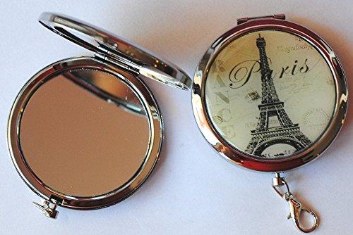 1 DOUBLE MIROIR DE POCHE MOTIF PARIS BEAUTE 6 CM