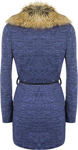WearAll - Femmes Faux Fourrure Collier Belted Longue Manche Ouvert Haut Veste Cardigan - Hauts - Femmes - Tailles 36-42 Bleu royal