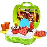 BEETEST Niños bebés Mini barbacoa barbacoa juego caso conjunto con estufa tazas platos alimentos juguete rueda utensilios de servir