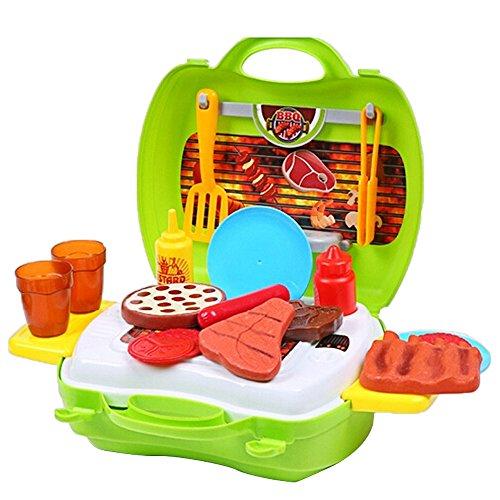 Kinder Babys Kinder Mini Barbecue BBQ Spiel Fall Set mit Herd Tassen Platten Lebensmittel Spielzeug Caster Servierbesteck