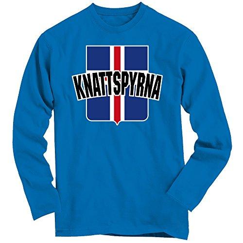 Island EM 2016 #10 Longsleeve-Shirt   Knattspyrna   Fußball   Herren   Trikot   Wikinger   Nationalmannschaft   UH! UH! UH! © Shirt Happenz blau (Royal Blue BCTU005)