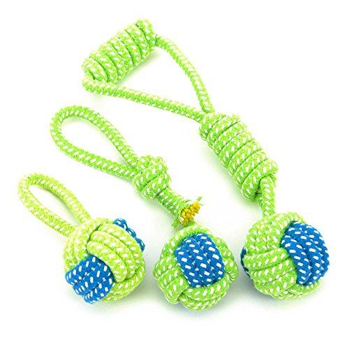 K&C corda di cotone resistente nodo pulizia palla giocattolo corda di cotone con alimentatore dente (10 Anatre Piccolo Gomma)