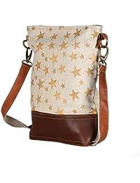 Beautifu Golden Stars Leather And Canvas Tote Shoulder Bag Stylish Shopping Casual Bag Foldaway Travel Bag