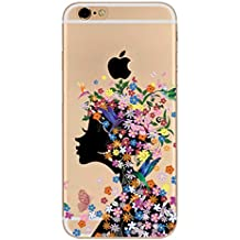 Funda iPhone 7 Plus Funda iPhone 8 Plus Carcasa ,Moda Pájaro Mariposa Chica Flor Transparente