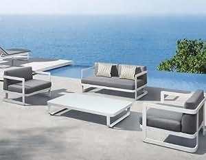 Ingarden Moderne Sofa Set White &Garten Sofa, Sessel, Deep Cushions