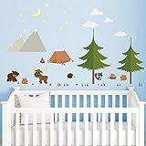decalmile Wandsticker Kinderzimmer Waldtiere und Kiefer Baum Wandtattoo Babyzimmer Schlafzimmer Wanddeko