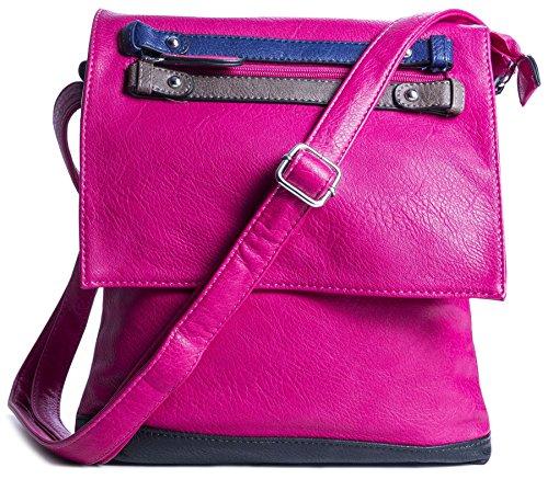 Big Handbag Shop Sac à main imitation cuir pour femme Fermeture à rabat Messenger Sac bandoulière - Rose - rose,