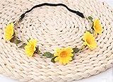 HJHY® Girlande, Kind Blume Rebe Sonnenblume Stirnband Braut Kopfschmuck Haar Bänder Stirnband Ausstellen von Karten Leistung Haarschmuck (Farbe : Gelb)
