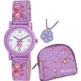 Tikkers Floral reloj Set de regalo en caja–morado–atk1021