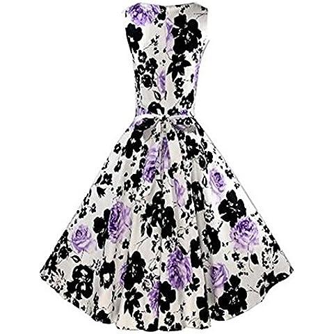 Minetom Nuovo Stile Donne Abito Audrey Hepburn Abito Vestito Stampa Floreale Senza Maniche Dresses Perfetto Per Il Partito / Sera / Cocktail ( Porpora EU XL )