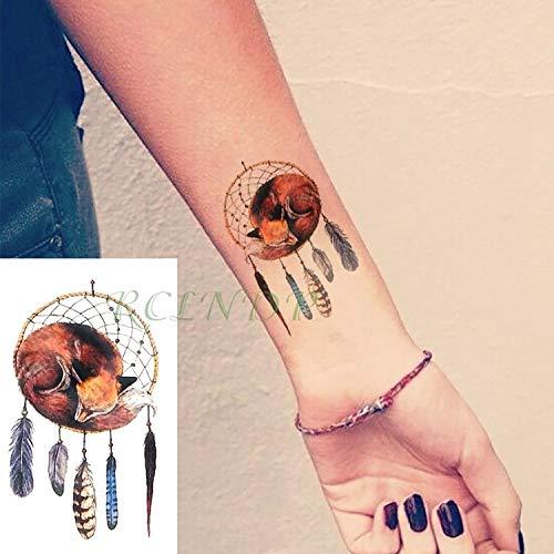 Wasserdichte selbstklebende temporäre Tattoo Body Art Dreamcatcher Traumfänger Touch Aufkleber Flash Tattoo Fake Tattoos für Mädchen Frauen Army Green (Für Jungen Army Halloween-make-up)