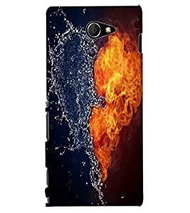 ColourCraft Ice and Water Heart Design Back Case Cover for SONY XPERIA M2