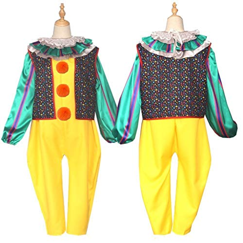 Wirklich Damen Kostüm Gruselige - LUCKFY Erwachsene Damen Clown Halloween Kostüme Gruseliges Kostüm Cosplay das Clown Kostüm inklusive Weste, Lätzchen, Gelber Overall,Women,XL
