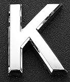 2 x silberfarbene Metall-Buchstaben, A-Z, englische Buchstaben, Nummern, Schild für Hotel, Haus, Tür, Briefkasten, Zimmernummer, 3D, Radiant-Metall-Nummer, selbstklebend, K, 5 cm