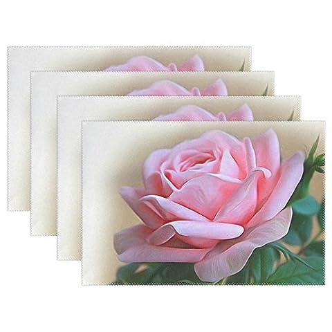 Bennigiry Rose Set de table, peinture d'art Superbe 30,5x 45,7cm Polyester Set de table de table pour cuisine salle à manger 1pièce, Polyester, multicolore, Taille unique