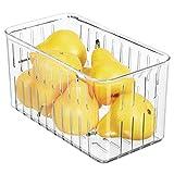 mDesign Contenitore alimenti senza coperchio - Pratico modello di contenitori in plastica per alimenti di ogni tipo - Contenitore frigo multiuso con aperture laterali - trasparente