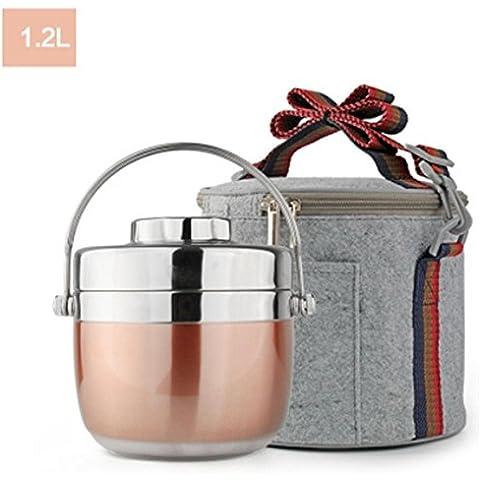 FOODJIA Aislamiento térmico portátil portátil de acero inoxidable 2 almuerzo caja caja del refrigerador del almuerzo , pink ,