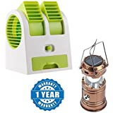 Drumstone Portable Mini Air Cooler Adjustable Angles Fan With USB And Battery Use With 6 LED Solar Power Camping Rechargable Collapsible Lantern