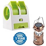 Renyke Primiume Quality Air Conditioner Cooling Fan Mini Dual Bladeless Usb Cooler Fan with With 6 LED Solar Power Camping Lantern Rechargable Collapsible Night Light (Color May Vary)