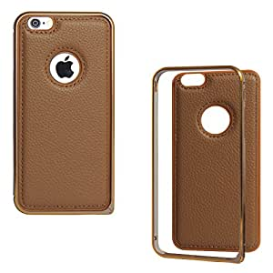 DMG Metal Frame and Leather Back Bumper Dual Protection Cover Case For Apple iPhone 6 4.7in (Brown)