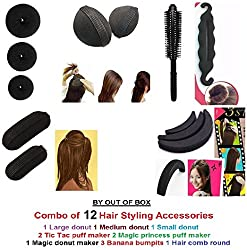 Out Of Box Combo of 12 Hair Accessories 3 Size Donuts 1 Magic Donut 2 volumizer 3 Banana Bumpit 2 Tictac Puff 1 Round Comb